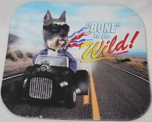 "New Schnauzer Dog in Hot Rod Car Computer Mouse Pad ""Bone"" to Be Wild"