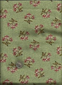 """""""Broderie Perse"""" Print Rose on Green Fabric by American Folk Art Museum Andover"""
