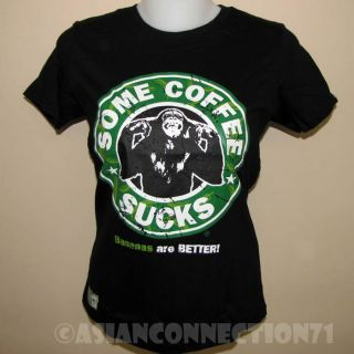 Some Coffee Sucks New CISSE Monkey Disco Party Rave T Shirt Misses s Small