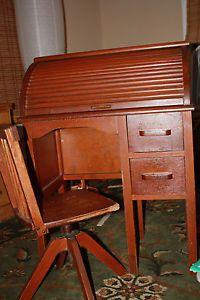 ... Vintage Childrens Rolltop Desk with Swivel Chair ... & Rolltop Desk 1910 Antique