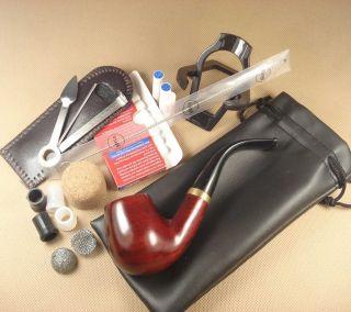 Red Wood Smoking Pipe Filter Tip Grips Clean 3in1 Tool Cork Net Rack Set FR653