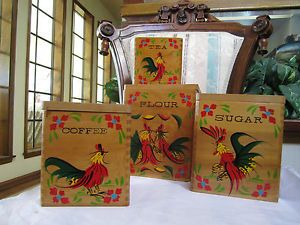 Vintage Rooster Chicken Canister 1950's Set 4WOOD Nesting Flour Coffee Tea Sugar