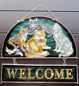 Amia Hand Painted Stain Glass Suncatcher Cat Hospitality Welcome Sign Panel