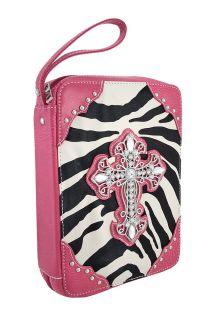 Zebra Print Bible Cover Rhinestone Cross Hot Pink Trim Color Black