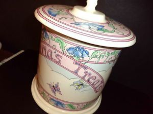 Vintage Lillian Vernon Cookie Jar Grandmas Treats Butterflies