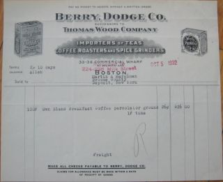 1932 Letterhead Thomas Wood's Coffee Tea Boston MA
