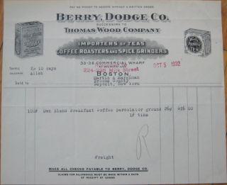 1932 Letterhead Thomas Wood's Coffee Tea Boston MA