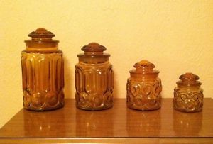 4 Vintage Smith Glass Amber Moon Stars Flour Sugar Coffee Tea Canister Jar Set
