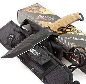 MTech Xtreme Tactical Combat Military Sawback Tanto Blade Desert Knife Sheath