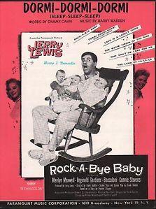 """1958 Jerry Lewis Film Song Rock A Bye Baby """"Dormi Dormi Dormi"""" Paramount Comedy"""