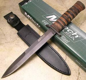 MTech Stacked Leather Handle Fixed Black Blade Military Combat Knife w Sheath