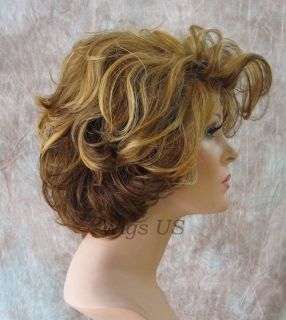Heat Resistant Short Wig Sexy Wavy Style Big Volume Red Auburn Womens Wigs