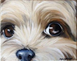 Sparrow Yorkshire Terrier Teacup Puppy Dog Oil Painting Yorkie Art Original
