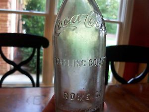 "Coca Cola Straight Side Bottle ""Arch Script"" Rome GA RARE Version NM Clear"