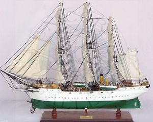Ready to Display Wooden Model Boat of Sail Training SHIP Danmark Display Case