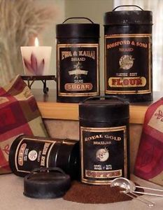 Retro 4pc Set Black Kitchen Ad Canister Set Flour Sugar Coffee Tea