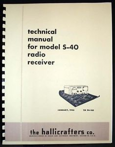Hallicrafters s 40 S40 Communications Receiver Technical Manual