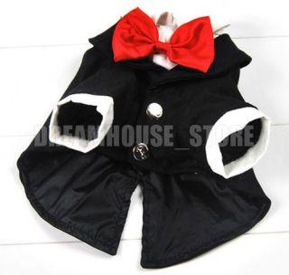 Small Toy Dog Clothes Puppy Wedding Halloween Costume Groomsmen Black Tuxedo