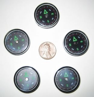 5 Small 27mm Pocket Survival Air Filled Button Compass