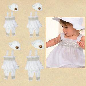 0 24M 3pcs Baby Girl Infant Ruffle Dress Pants Hat Set Outfit Clothes Costume