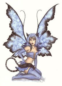Amy Brown Print Fairy Baby Blue Cat Tail Ears Costume