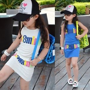 New Kids Baby Girls Words Pattern Tank Tops Dress 2 Pcs Set Costume Clothes 2 7Y