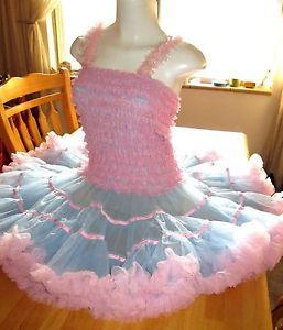 Vintage Costume Petticoat Dress Bo Peep Adult Sissy Baby Dress Pink Ruffles Doll