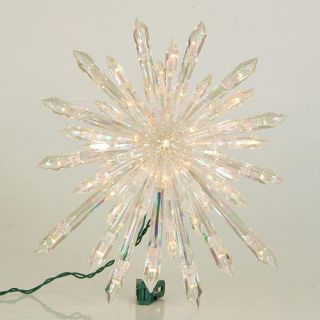 """13 5"""" Lighted Iridescent Starburst Christmas Tree Topper Clear Lights"""