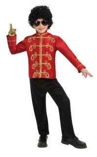 Michael Jackson Thriller 80s Military Red Deluxe Jacket Child Costume Kids Party