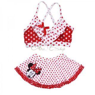Baby Girls Kid Toddler Minnie Mouse Swimsuit Swimwear Bathing Suit Bikini Sz 3 4