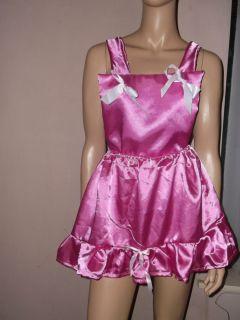 Adult Baby Sissy Dress Deep Pink Satin Bib Top Bows 30 45 Waist Frilly Hem