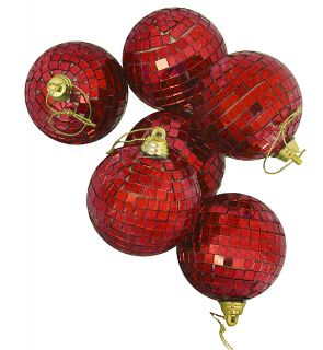 """6 Lust Red Mirrored Disco Ball Christmas Ornaments 2"""""""