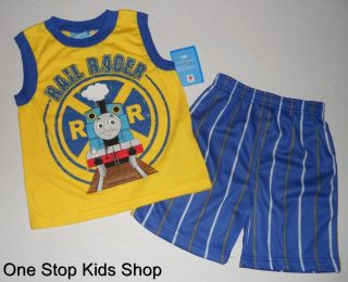 Thomas The Train Toddler Boys 2T 3T 4T 5T Set Outfit Shirt Shorts Tank Engine