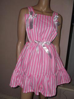 Adult Baby Sissy Dress Pink White Stripe Bib Top Bows 30 45 Waist Frilly Hem
