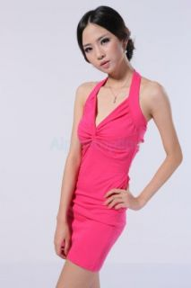Sexy Women's V Neck Backless Twist Knot Club Cocktail Party Halter Mini Dress