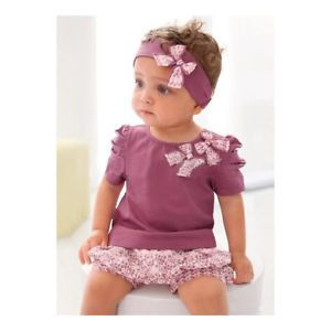 3pcs Kid Child Baby Girl Infant Top Pant Headband Set Outfit Costume Cloth 0 36M