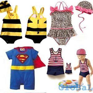 Baby Kids Boy Girl Cute Beach Swimwear Swimsuit Swimming Costume Hat Age 6M 5yrs