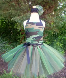 Camo Tutu Dress Pageant Birthday Costume Camouflage Army Fatigue Mossy