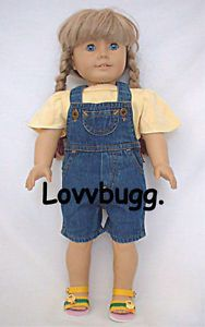 """Denim Shorts Overalls Clothes for 18"""" American Girl and 15"""" Baby Doll Selection"""