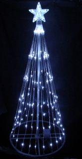 6' White LED Light Show Cone Christmas Tree Yard Art