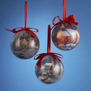 "2 75"" Thomas Kinkade Decoupage Church Winter Scene Christmas Ball Ornament"