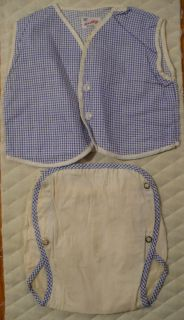 Vtg Little Baby Boy's Romper Set Plastic Rubber Pants Diaper Cover Snaps Top