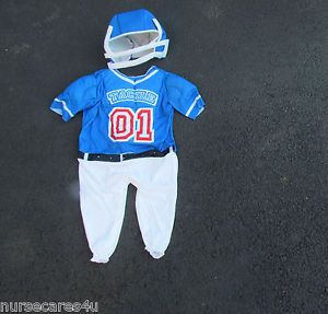 Little Tackle Football Player Halloween Costume Jumpsuit Helmet Size 2T Toddler