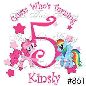 Pinkie Pie Pony Rainbow Dash Ponies Birthday Personalized Shirt Name Age 1st 7