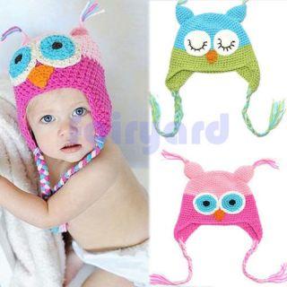 Beautiful Toddler Baby Girls Boys Owls Animal Crochet Knit Woolly Cap Ear Hat