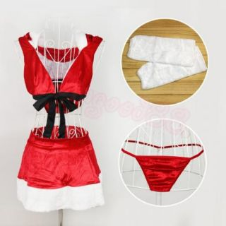 Sexy Red Christmas Santa Costume Bra Top Mini Skirt Underwear Hat Lingerie Dress