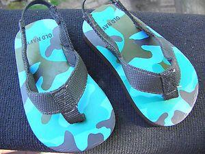 Old Navy Toddler Boy Sandals Flip Flops Shoes Brown Blue Green Size 4
