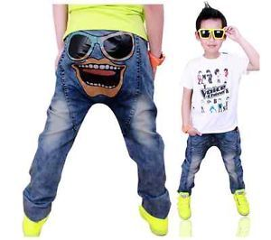 Cartoon Pants Kids Boys Girls Baby Cowboy Jeans Trousers Party Clothing New 3 8Y