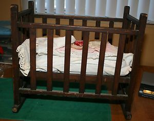 Antique Baby Doll Cradle Rocker Crib Wood w Bedding Pillows Doll Clothes