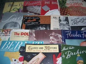 Lot of 19 Vintage Crochet Knitting Pattern Book Pillow Cases Baby Doll Clothes